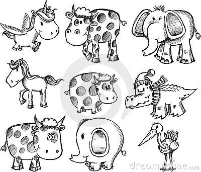 Super zwierzęcy ustalony nakreślenie