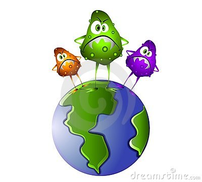 Clip art illustration of a group of nasty looking germs standing on