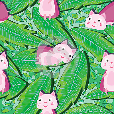Supercat And Drawing Leaves Seamless Pattern_eps