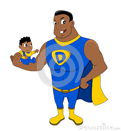 Free Superdad And A Child Cartoon Royalty Free Stock Images - 95221089