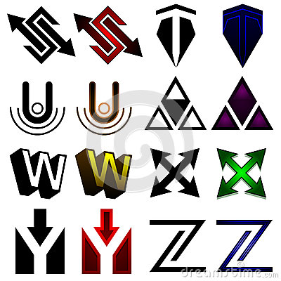 Superhero or athletics symbols s-z