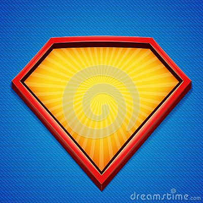 Free Superhero Background. Superhero Logo Template. Red, Yellow Frame With Divergent Rays On Blue Backdrop. Vector Illustration. Royalty Free Stock Photography - 107013827