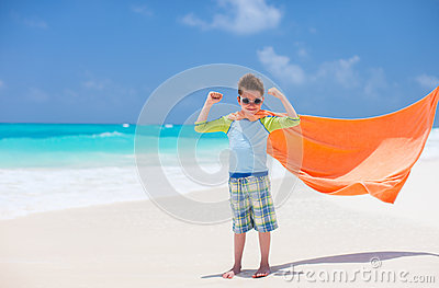 Superhero at beach