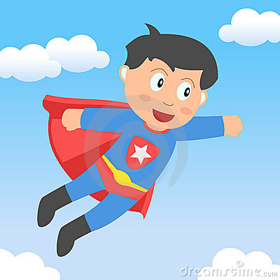Superhero Boy Flying in the Sky