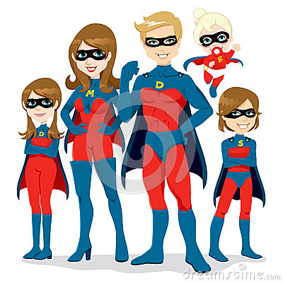Free Superhero Family Costume Royalty Free Stock Photos - 24713588