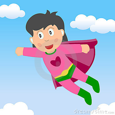 Superhero Girl Flying in the Sky