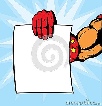 Superhero hand holding flyer.