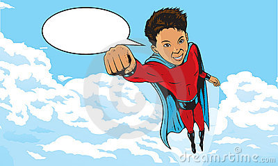 Superhero Kid flying through clouds