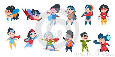 Superhero kids. Boys and girls in comic superhero costumes for party, cute children wearing colorful costumes. Vector Vector Illustration