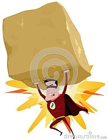 Superhero rouge soulevant la grande roche lourde