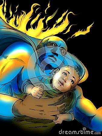 Superhero saving baby