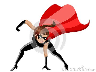 Superhero or super hero woman combat pose isolated Vector Illustration