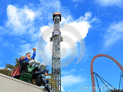 Superheroes with thrill rides Editorial Stock Image