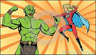Superheroine battle.