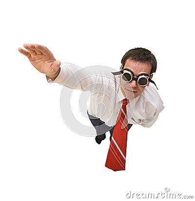 Superman businessman flying