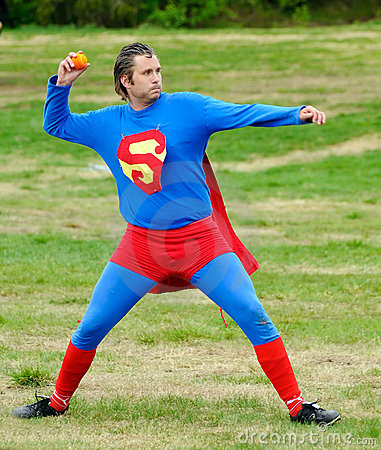 Superman throwing ball Editorial Stock Photo