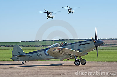 Supermarine Seafire with two Lynx helicopters Editorial Photo