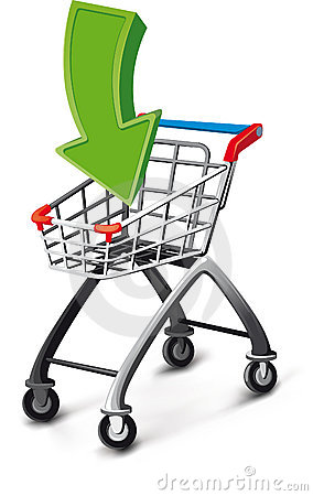 Supermarket cart with arrow