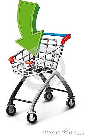 Supermarket cart with arrow