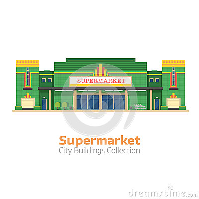 Supermarket or Grocery Store Building Vector Illustration