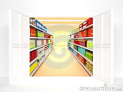 Supermarket with open door