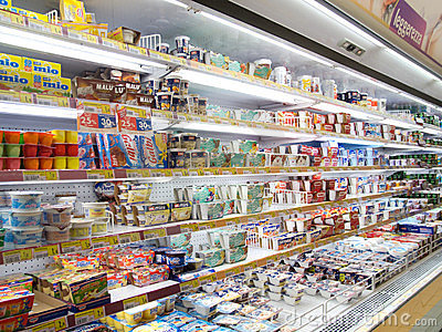 Supermarket s refrigerated products Editorial Image