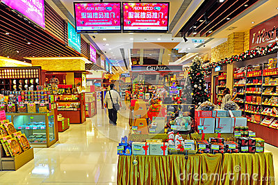 Supermarket with seasonal decor