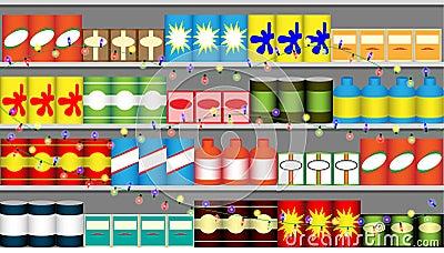 Supermarket shelves with garlands