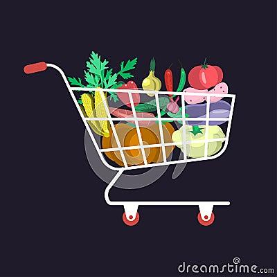 Supermarket shopping cart Vector Illustration