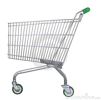 Supermarket trolley with clipping path