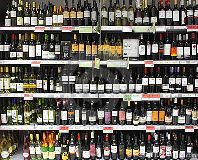 Wine bottles on shelf / shelves Editorial Image
