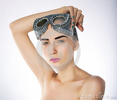 Supermodel female in swimmer goggles