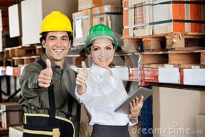Supervisor And Foreman Gesturing Thumbs Up