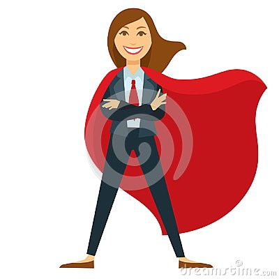 Free Superwoman In Formal Office Suit With Red Tie And Cloak Royalty Free Stock Photo - 118461145