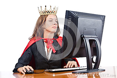Superwoman worker with crown