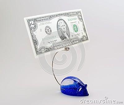 Suporte do papel para cartas com dólar