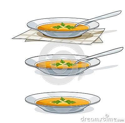 Suppe in der weißen Platte mit Löffel