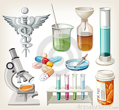 Supplies used in pharmacology for preparing medicine.