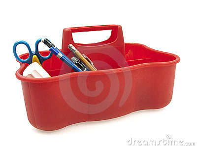 Supply carry case on white background