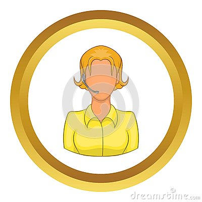 Support phone operator in headset vector icon Vector Illustration