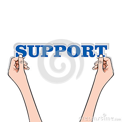 Support text with hand