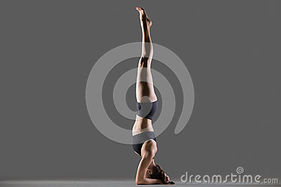 supported headstand yoga pose stock photo  image 61360730