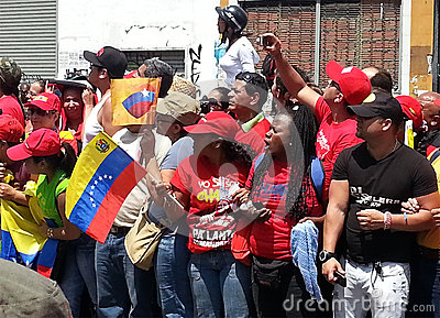 Supporters of Hugo Chavez Editorial Stock Photo
