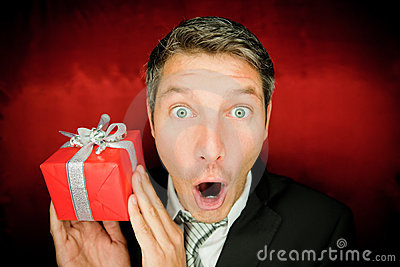 Suprise man with gift