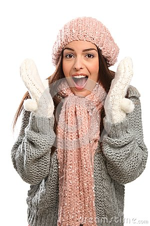 Suprised happy laugh young woman in cold weather