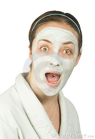 Suprised woman with face mask