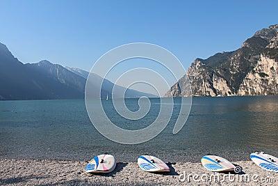 Surf beaches Lago di Garda Editorial Photo