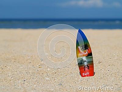 Surf board on bali beach