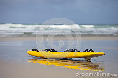 Surf board at the beach in cornwall