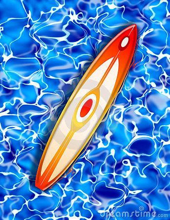 Surf board on Blue Water Illustration